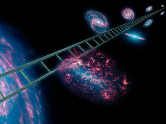 The cosmic distance ladder, symbolically shown here in this artist's concept, is a series of stars and other objects within galaxies that have known distances. The Spitzer Space Telescope used this ladder to make the most precise measurement ye