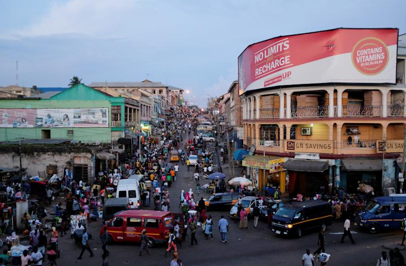 Adum market at nightfall in Kumasi, Ghana. (Photo: Francis Kokoroko/Reuters)