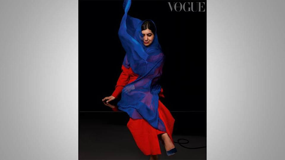 Malala wearing a headscarf in the Vogue photoshoot