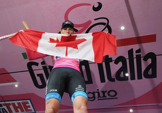 Canada's Ryder Hesjedal celebrates on the podium after winning the 95th Giro d'Italia (Canadian Press)