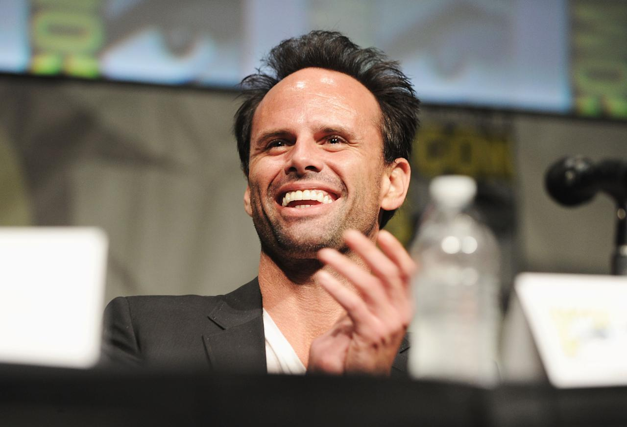 "SAN DIEGO, CA - JULY 14:  Actor Walton Goggins  speaks at the ""Django Unchained"" panel during Comic-Con International 2012 at San Diego Convention Center on July 14, 2012 in San Diego, California.  (Photo by Albert L. Ortega/Getty Images)"