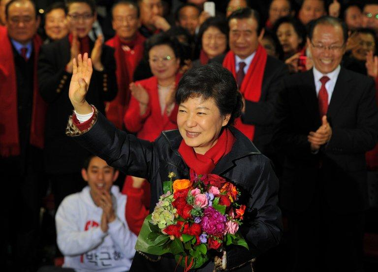 Park Geun-Hye at party headquarters in Seoul on December, 19, 2012. Park, the daughter of South Korea's late military ruler, will be sworn in as the country's first female president on Monday in a ceremony shadowed by North Korea's recent nuclear test