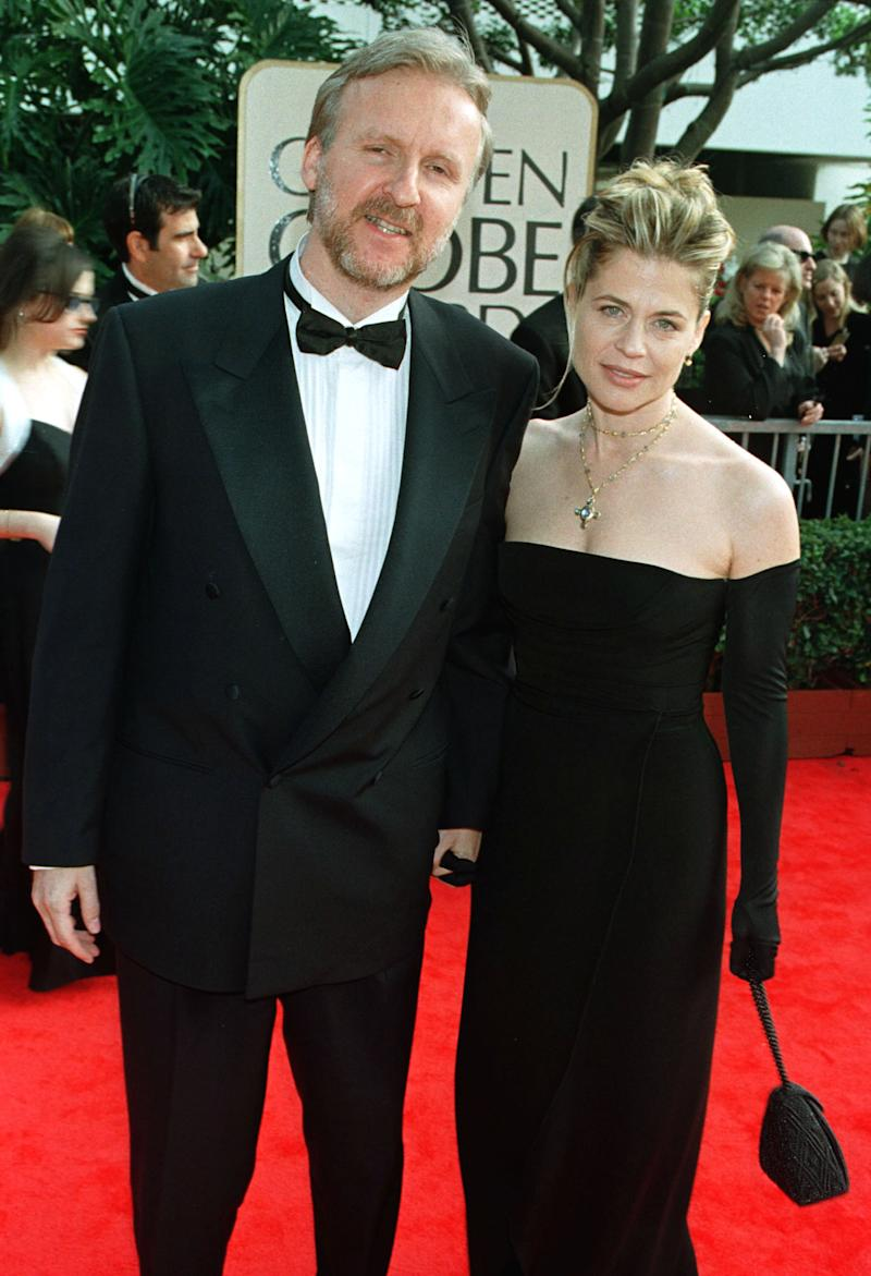 "James Cameron and his wife Linda Hamilton arrive for the 55th annual Golden Globe Awards in Beverly Hills, January 18. The awards, sponsored by the Hollywood Foreign Press Association, honors excellence in film and television. Cameron's film ""Titanic"" is nominated for numerous awards. Hamilton was his star in the ""Terminator"" series."