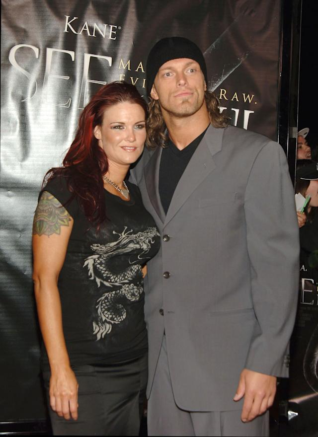Edge, WWE Raw Superstar, and Lita, WWE Diva during 'See No Evil' Premiere - Arrivals in Los Angeles, California, United States. (Photo by J.Sciulli/WireImage for LIONSGATE)