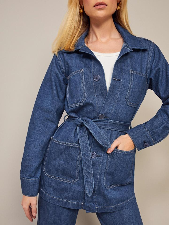 """<p>This <a href=""""https://www.popsugar.com/buy/Reformation-Dylan-Jacket-541976?p_name=Reformation%20Dylan%20Jacket&retailer=thereformation.com&pid=541976&price=168&evar1=fab%3Aus&evar9=47130094&evar98=https%3A%2F%2Fwww.popsugar.com%2Ffashion%2Fphoto-gallery%2F47130094%2Fimage%2F47130110%2FReformation-Dylan-Jacket&list1=shopping%2Cdenim%2Cjeans%2Creformation&prop13=api&pdata=1"""" rel=""""nofollow"""" data-shoppable-link=""""1"""" target=""""_blank"""" class=""""ga-track"""" data-ga-category=""""Related"""" data-ga-label=""""https://www.thereformation.com/products/cher-jacket-1?color=Indio&amp;via=Z2lkOi8vcmVmb3JtYXRpb24td2VibGluYy9Xb3JrYXJlYTo6Q2F0YWxvZzo6Q2F0ZWdvcnkvNWE2YWRmZDJmOTJlYTExNmNmMDRlOWM0"""" data-ga-action=""""In-Line Links"""">Reformation Dylan Jacket</a> ($168) is impossibly cool.</p>"""