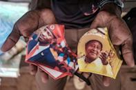 Face time: Masks with pictures of the two frontrunners