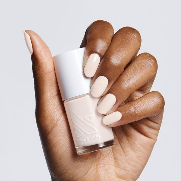 <p>The <span>Olive & June HGC Polish</span> ($8) is a great opaque neutral that always looks pretty.</p>