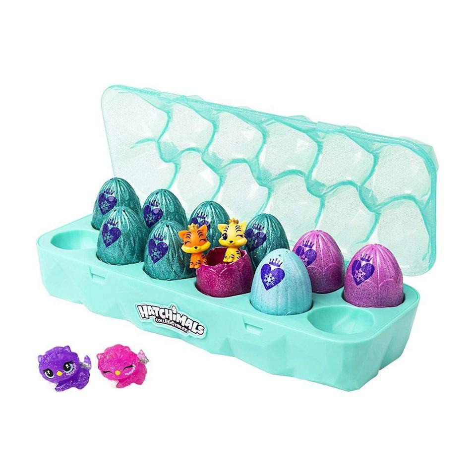 "<p><strong>Hatchimals</strong></p><p>amazon.com</p><p><strong>$17.99</strong></p><p><a href=""https://www.amazon.com/dp/B07MKCV2QP?tag=syn-yahoo-20&ascsubtag=%5Bartid%7C2089.g.268%5Bsrc%7Cyahoo-us"" rel=""nofollow noopener"" target=""_blank"" data-ylk=""slk:Shop Now"" class=""link rapid-noclick-resp"">Shop Now</a></p><p>Hatch your very own teeny-tiny royal pets with Hatchimals Colleggtibles Royal Dozen. Arranged in the perfect display and carrying case, each glittery egg reveals a mystery pet. </p><p>If you have a few kiddos with stockings to stuff, crack open the carrying case, and drop an egg or two into each stocking. On Christmas day, they can pop them open, share, and swap. </p>"