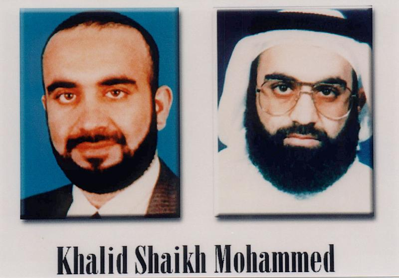 COMPOSITE PIC: Khalid Shaikh Mohammed released by the FBI and President Bush during a press conference to announce the Most Wanted Terrorist list. (Photo by Mai/Mai/The LIFE Images Collection via Getty Images/Getty Images)