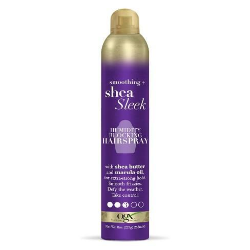 """<h3><strong>OGX</strong> Smoothing + Shea Sleek Humidity Blocking Hairspray</h3> <br>This shea butter- and marula oil-infused hairspray keeps our strands smooth throughout the day, no matter how many times it gets assaulted by gusts of hot wind. Plus, the light and flexible hold tames frizz without feeling crunchy or heavy.<br><br><strong>OGX</strong> Smoothing + Shea Sleek Humidity Blocking Hairspray, $, available at <a href=""""https://go.skimresources.com/?id=30283X879131&url=https%3A%2F%2Fwww.target.com%2Fp%2Fogx-smoothing-shea-sleek-humidity-blocking-hairspray-8oz%2F-%2FA-52517603"""" rel=""""nofollow noopener"""" target=""""_blank"""" data-ylk=""""slk:Target"""" class=""""link rapid-noclick-resp"""">Target</a><br>"""