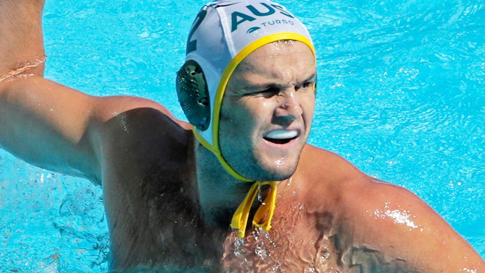 Australia's Richie Campbell is pictured playing water-polo.