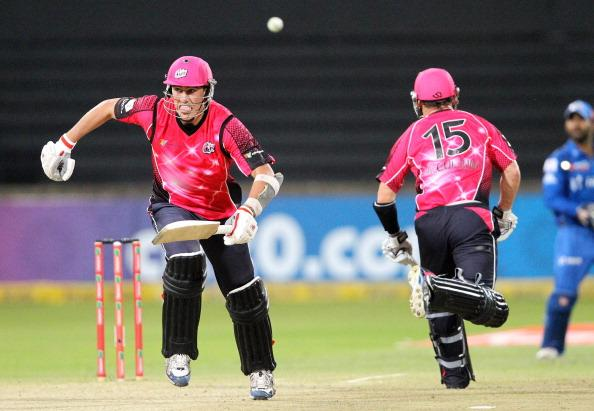 DURBAN, SOUTH AFRICA - OCTOBER 22:  Pat Cummins of Sydney in action during the Champions League twenty20 match between Sydney Sixers and Mumbai Indians at Sahara Stadium Kingsmead on October 22, 2012 in Durban, South Africa. (Photo by Anesh Debiky / Gallo Images/Getty Images)