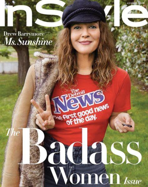 Drew Barrymore on the cover of the August edition of InStyle magazine. (InStyle )