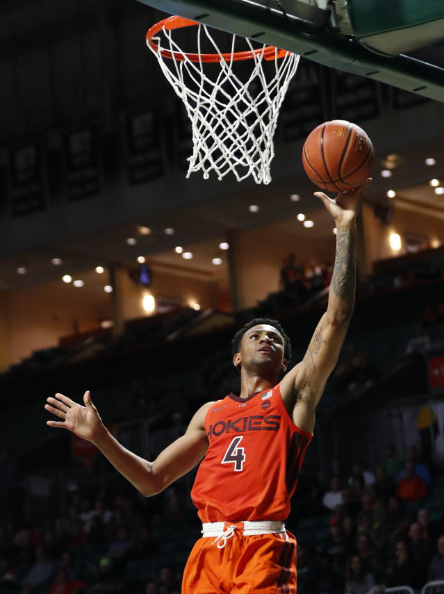 Virginia Tech guard Nickeil Alexander-Walker goes up for a shot during the second half of the team's NCAA college basketball game against Miami, Wednesday, Jan. 30, 2019, in Coral Gables, Fla. Alexander-Walker tied a season high with 25 points as Virginia Tech won 82-70. (AP Photo/Wilfredo Lee)