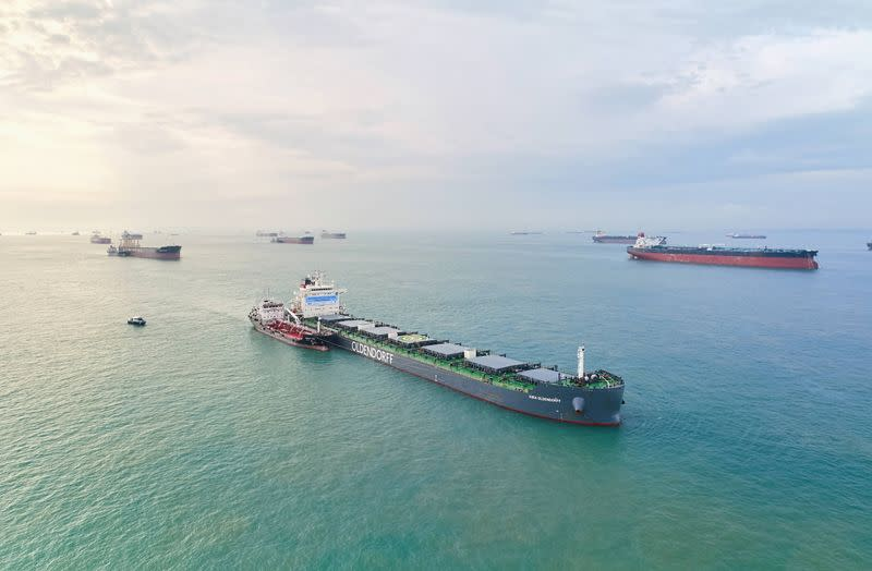 A drone image shows the Kira Oldendorff during biofuels bunkering conducted by BHP, GoodFuels and with support from the Maritime and Port Authority of Singapore (MPA) in Singapore