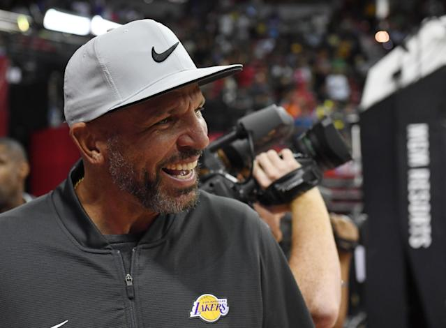 LAS VEGAS, NEVADA - JULY 06: Assistant head coach Jason Kidd of the Los Angeles Lakers attends a game between the Lakers and the LA Clippers during the 2019 NBA Summer League at the Thomas & Mack Center on July 6, 2019 in Las Vegas, Nevada. (Photo by Ethan Miller/Getty Images)