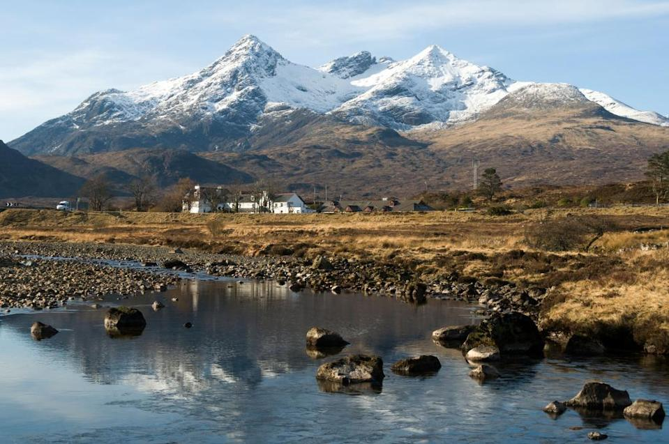 Sgùrr nan Gillean and the Cuillin mountains, from Sligachan, Isle of Skye. Highland region, Scotland, UK.