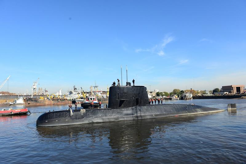 The Argentine military submarine ARA San Juan and crew seen leaving Buenos Aires in 2014: REUTERS
