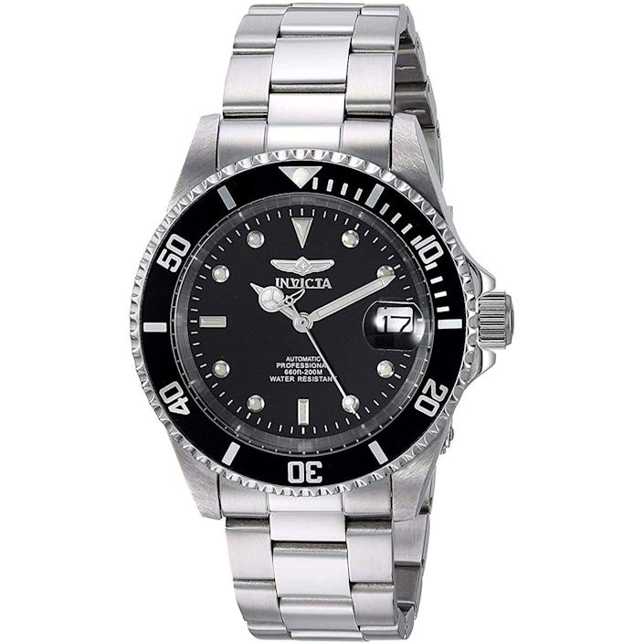 """<p><strong>Invicta</strong></p><p>amazon.com</p><p><a href=""""https://www.amazon.com/dp/B000JQFX1G?tag=syn-yahoo-20&ascsubtag=%5Bartid%7C10054.g.35351418%5Bsrc%7Cyahoo-us"""" rel=""""nofollow noopener"""" target=""""_blank"""" data-ylk=""""slk:Shop Now"""" class=""""link rapid-noclick-resp"""">Shop Now</a></p><p>A just-right diver at a just-right price.</p>"""