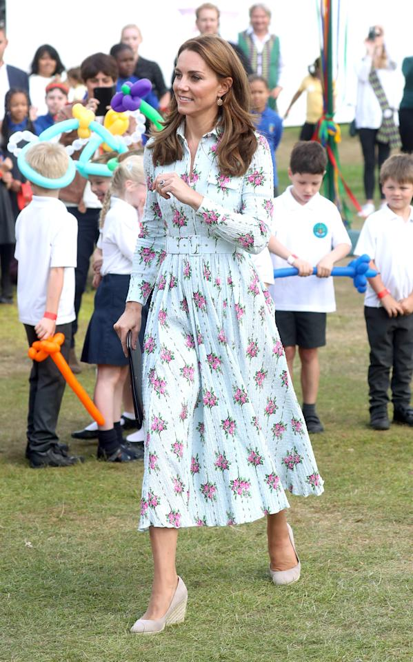 "Kate Middleton wore a <a href=""https://click.linksynergy.com/deeplink?id=93xLBvPhAeE&mid=24449&murl=https%3A%2F%2Fwww.net-a-porter.com%2Fus%2Fen%2Fproduct%2F1139333%2FEmilia_Wickstead%2Faurora-belted-floral-print-swiss-dot-cotton-blend-seersucker-dress&u1=PEO%2CShopping%3AEverythingYouNeedtoCopyKateMiddleton%E2%80%99sSummerStyle%2Ckamiphillips2%2CUnc%2CGal%2C7115494%2C201909%2CI"" target=""_blank"" rel=""nofollow"">$2,255 pale green, seersucker belted dress decorated with a pink floral print by Emilia Wickstead</a> to the <a href=""https://people.com/royals/kate-middleton-unveils-latest-garden-design/"" target=""_blank"">unveiling of her newest ""Back to Nature"" garden</a>. The Duchess looked as elegant as ever after pairing her floral print, long-sleeved dress with tan wedges, pretty drop earrings, and her signature bouncy blowout.  <strong>Get the Look!</strong>  Lilly Pulitzer Mira Midi Shirt Dress, $228; <a href=""https://click.linksynergy.com/deeplink?id=93xLBvPhAeE&mid=41728&murl=https%3A%2F%2Fwww.lillypulitzer.com%2Fmira-midi-stretch-shirtdress%2F004533-pinktropicstinttangerinedream.html&u1=PEO%2CShopping%3AEverythingYouNeedtoCopyKateMiddleton%E2%80%99sSummerStyle%2Ckamiphillips2%2CUnc%2CGal%2C7115494%2C201909%2CI"" target=""_blank"" rel=""nofollow"">lillypulitzer.com</a>  Levaca Modest Floral Long Sleeve Midi Work Belt Dress with Pockets, $25.99; <a href=""https://www.amazon.com/Womens-Modest-Floral-Sleeve-Pockets/dp/B07WWVC9H3/ref=as_li_ss_tl?keywords=blue+floral+print+midi+shirt+dress&qid=1568127101&s=gateway&sr=8-20-spons&psc=1&spLa=ZW5jcnlwdGVkUXVhbGlmaWVyPUFVNUNLR0s2U1QxRFMmZW5jcnlwdGVkSWQ9QTA1Nzc5MjMxT0FGTzczQlpZVjM0JmVuY3J5cHRlZEFkSWQ9QTA5NTI5NDkzVEVWRDlMV0VPMExFJndpZGdldE5hbWU9c3BfbXRmJmFjdGlvbj1jbGlja1JlZGlyZWN0JmRvTm90TG9nQ2xpY2s9dHJ1ZQ==&linkCode=ll1&tag=poamzfkatemiddletonstylekphillips0919-20&linkId=c2615ec63349b707ad3a9a633335554e&language=en_US"" target=""_blank"">amazon.com</a>  Chelsea28 Mixed Print Clip Dot Maxi Dress, $107.40 (orig. $179); <a href=""https://click.linksynergy.com/deeplink?id=93xLBvPhAeE&mid=1237&murl=https%3A%2F%2Fshop.nordstrom.com%2Fs%2Fchelsea28-mixed-print-clip-dot-maxi-dress%2F5136024&u1=PEO%2CShopping%3AEverythingYouNeedtoCopyKateMiddleton%E2%80%99sSummerStyle%2Ckamiphillips2%2CUnc%2CGal%2C7115494%2C201909%2CI"" target=""_blank"" rel=""nofollow"">nordstrom.com</a>  Tanya Taylor Alfonsa Floral Silk & Cotton Midi Dress, $356.98 (orig. $595); <a href=""https://click.linksynergy.com/deeplink?id=93xLBvPhAeE&mid=1237&murl=https%3A%2F%2Fshop.nordstrom.com%2Fs%2Ftanya-taylor-alfonsa-floral-silk-cotton-midi-dress-regular-plus-size%2F5315806&u1=PEO%2CShopping%3AEverythingYouNeedtoCopyKateMiddleton%E2%80%99sSummerStyle%2Ckamiphillips2%2CUnc%2CGal%2C7115494%2C201909%2CI"" target=""_blank"" rel=""nofollow"">nordstrom.com</a>  Marc Jacobs The 40s Dress, $495; <a href=""https://click.linksynergy.com/deeplink?id=93xLBvPhAeE&mid=42352&murl=https%3A%2F%2Fwww.shopbop.com%2F40s-dress-marc-jacobs%2Fvp%2Fv%3D1%2F1521890060.htm&u1=PEO%2CShopping%3AEverythingYouNeedtoCopyKateMiddleton%E2%80%99sSummerStyle%2Ckamiphillips2%2CUnc%2CGal%2C7115494%2C201909%2CI"" target=""_blank"" rel=""nofollow"">shopbop.com</a>  & Other Stories Cotton Blend Handkerchief Midi Dress, $119; <a href=""https://click.linksynergy.com/deeplink?id=93xLBvPhAeE&mid=41994&murl=https%3A%2F%2Fwww.stories.com%2Fen_usd%2Fclothing%2Fdresses%2Fprinted-dresses%2Fproduct.cotton-blend-handkerchief-midi-dress-dandelion.0710173003.html&u1=PEO%2CShopping%3AEverythingYouNeedtoCopyKateMiddleton%E2%80%99sSummerStyle%2Ckamiphillips2%2CUnc%2CGal%2C7115494%2C201909%2CI"" target=""_blank"" rel=""nofollow"">stories.com</a>  Kos Resort Wrap Dress, $140; <a href=""https://click.linksynergy.com/deeplink?id=93xLBvPhAeE&mid=42352&murl=https%3A%2F%2Fwww.shopbop.com%2Fwrap-dress-kos-resort%2Fvp%2Fv%3D1%2F1522285476.htm&u1=PEO%2CShopping%3AEverythingYouNeedtoCopyKateMiddleton%E2%80%99sSummerStyle%2Ckamiphillips2%2CUnc%2CGal%2C7115494%2C201909%2CI"" target=""_blank"" rel=""nofollow"">shopbop.com</a>  Eliza J Floral Off the Shoulder Midi Dress, $148; <a href=""https://click.linksynergy.com/deeplink?id=93xLBvPhAeE&mid=1237&murl=https%3A%2F%2Fshop.nordstrom.com%2Fs%2Feliza-j-floral-off-the-shoulder-midi-dress%2F5281133&u1=PEO%2CShopping%3AEverythingYouNeedtoCopyKateMiddleton%E2%80%99sSummerStyle%2Ckamiphillips2%2CUnc%2CGal%2C7115494%2C201909%2CI"" target=""_blank"" rel=""nofollow"">nordstrom.com</a>"