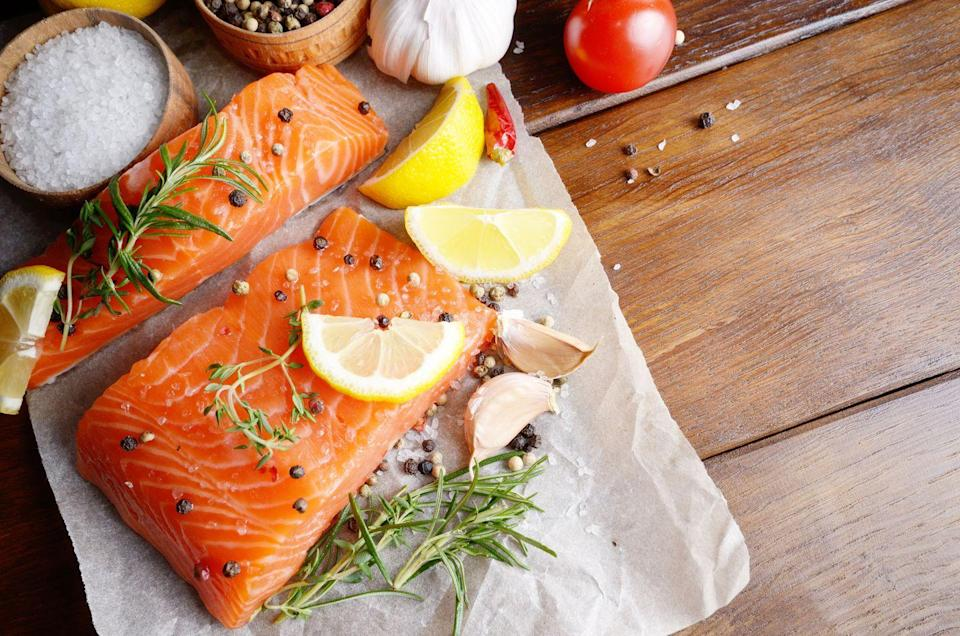 """<p>Make fatty fish, such as wild salmon, herring, mackerel and sardines, a part of your weekly diet. """"Hundreds of studies support the use of small fatty fish for brain health, as they contain omega-3 fatty acids and DHA (docosahexaenoic acid), which feeds the brain and prevents loss of <a href=""""https://www.prevention.com/health/sleep-energy/g23538015/how-to-improve-memory/"""" rel=""""nofollow noopener"""" target=""""_blank"""" data-ylk=""""slk:memory"""" class=""""link rapid-noclick-resp"""">memory</a> and <a href=""""https://www.prevention.com/life/a20465433/surprising-depression-symptoms/"""" rel=""""nofollow noopener"""" target=""""_blank"""" data-ylk=""""slk:depression"""" class=""""link rapid-noclick-resp"""">depression</a>,"""" says Susan Schenck, LAc, MOTM, author of <em><u><a href=""""https://www.amazon.com/Live-Food-Factor-Comprehensive-Ultimate/dp/0977679519?tag=syn-yahoo-20&ascsubtag=%5Bartid%7C10050.g.35715293%5Bsrc%7Cyahoo-us"""" rel=""""nofollow noopener"""" target=""""_blank"""" data-ylk=""""slk:The Live Food Factor"""" class=""""link rapid-noclick-resp"""">The Live Food Factor</a></u></em>. </p>"""