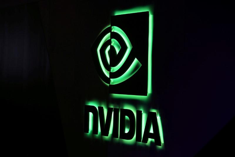 FILE PHOTO: NVIDIA logo shown at SIGGRAPH 2017