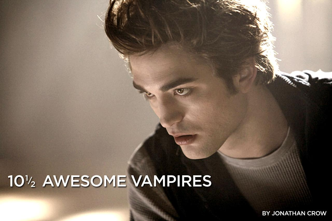 """Edward Cullen is one awesome vampire. He's supernaturally strong, can read minds, and is surprisingly handsome for a 107 year old; even the most sensible high school lass would swoon once she saw him glitter in sunlight. With millions of teenage girls lining up to see Edward on the silver screen in """"<a href=""""http://movies.yahoo.com/movie/1810010670/info"""">Twilight</a>"""" this weekend, we compiled a list of the 10 1/2 most awesome vampires in movies."""