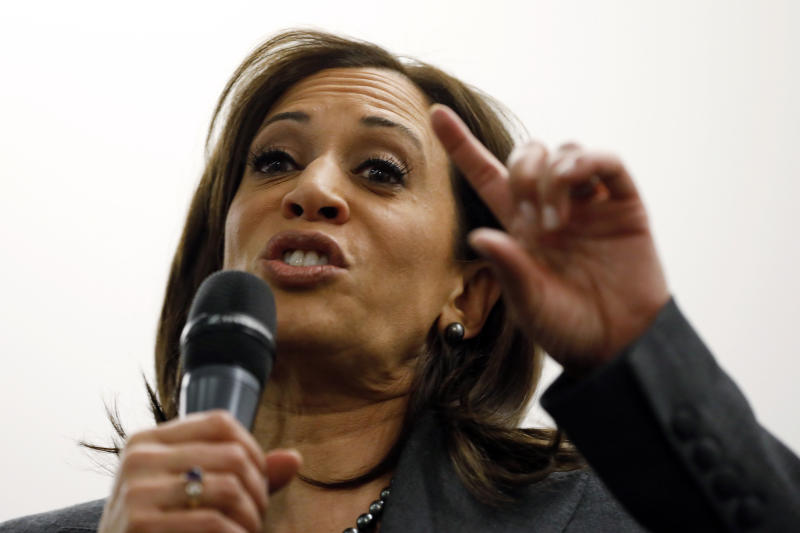 Sen. Kamala Harris, D-Calif., speaks to students at Drake University, Monday, Jan. 28, 2019, in Des Moines, Iowa. Harris formally announced on Sunday that she was seeking the Democratic presidential nomination. (AP Photo/Charlie Neibergall)