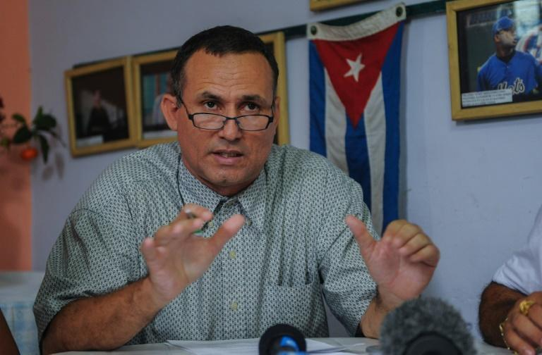 The United States has cited Cuba's rough treatment of opposition leader Jose Daniel Ferrer, seen during a press conference in 2016, in imposing sanctions on the country's interior minister