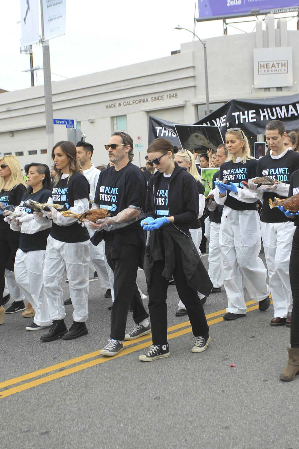 Photo by: gotpap/STAR MAX/IPx 2019 6/2/19 Joaquin Phoenix and Rooney Mara at The National Animal Rights Day Demostration in Los Angeles, CA.