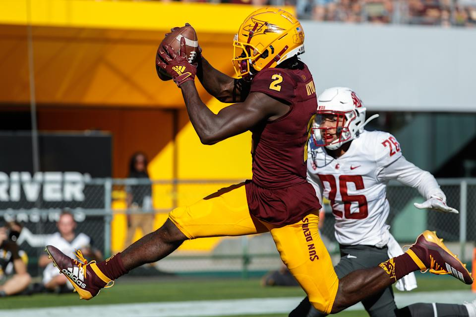 Arizona State WR Brandon Aiyuk (2) has been running past people this season. (Getty Images)