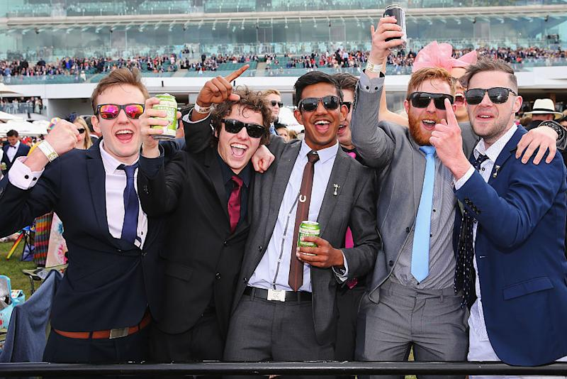 Punters enjoying the Melbourne Cup at Flemington racecourse.