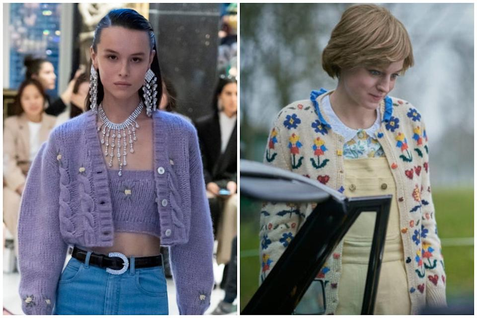 <p>Alessandra Rich AW20, Emma Corrin in The Crown</p>Imaxtree/Netflix