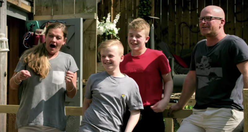 Pictured are Mom Dawn, her husband, John, and their two children, Max and Sam. Source: Channel 4 / Youtube