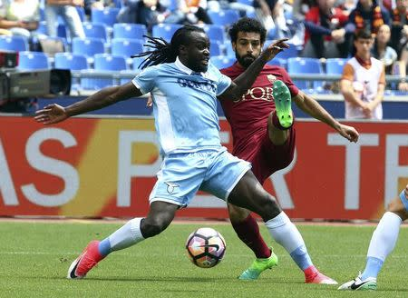Football Soccer - AS Roma v Lazio - Italian Serie A - Olympic Stadium, Rome, Italy - 30/04/17 AS Roma's Mohammed Salah and Lazio's Jordan Lukaku in action. REUTERS/Alessandro Bianchi