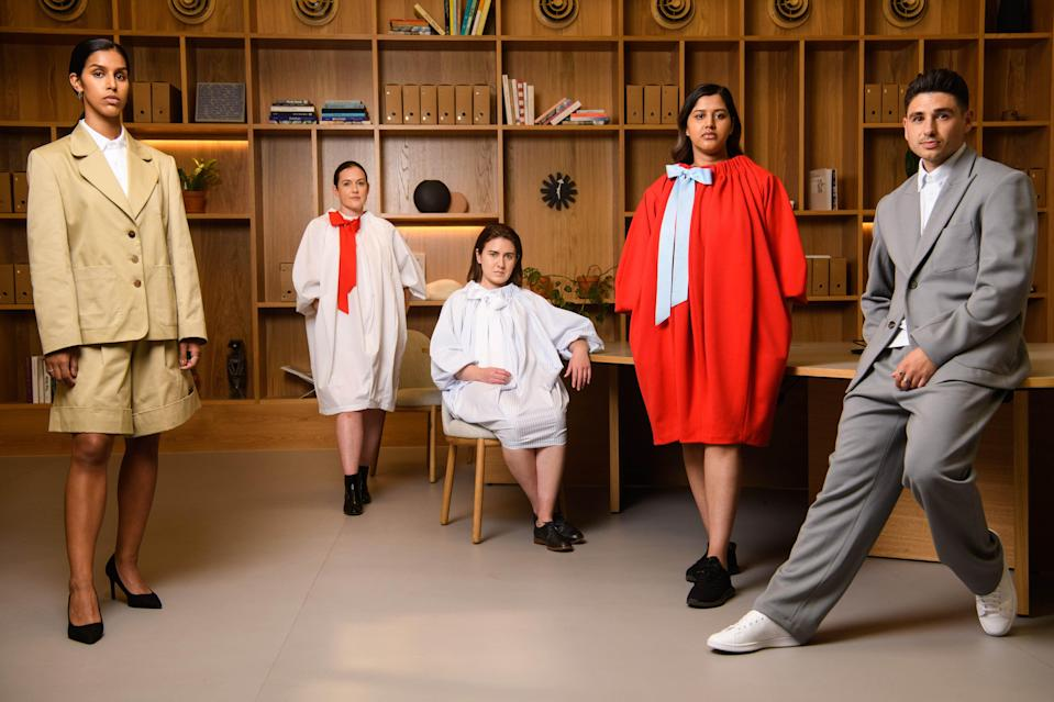 Fashion designer, Giles Deacon unveils a capsule collection in partnership with IWG, the world's largest flexible space operator, envisaging what workwear will look like in the new post-pandemic working world, at IWG Spaces in London.  (PA)