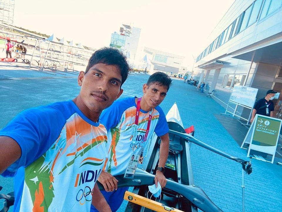 """<div class=""""paragraphs""""><p>Arjun Lal Jat and Arvind Singh during an earlier training session at the 2020 Tokyo Olympics.</p></div>"""