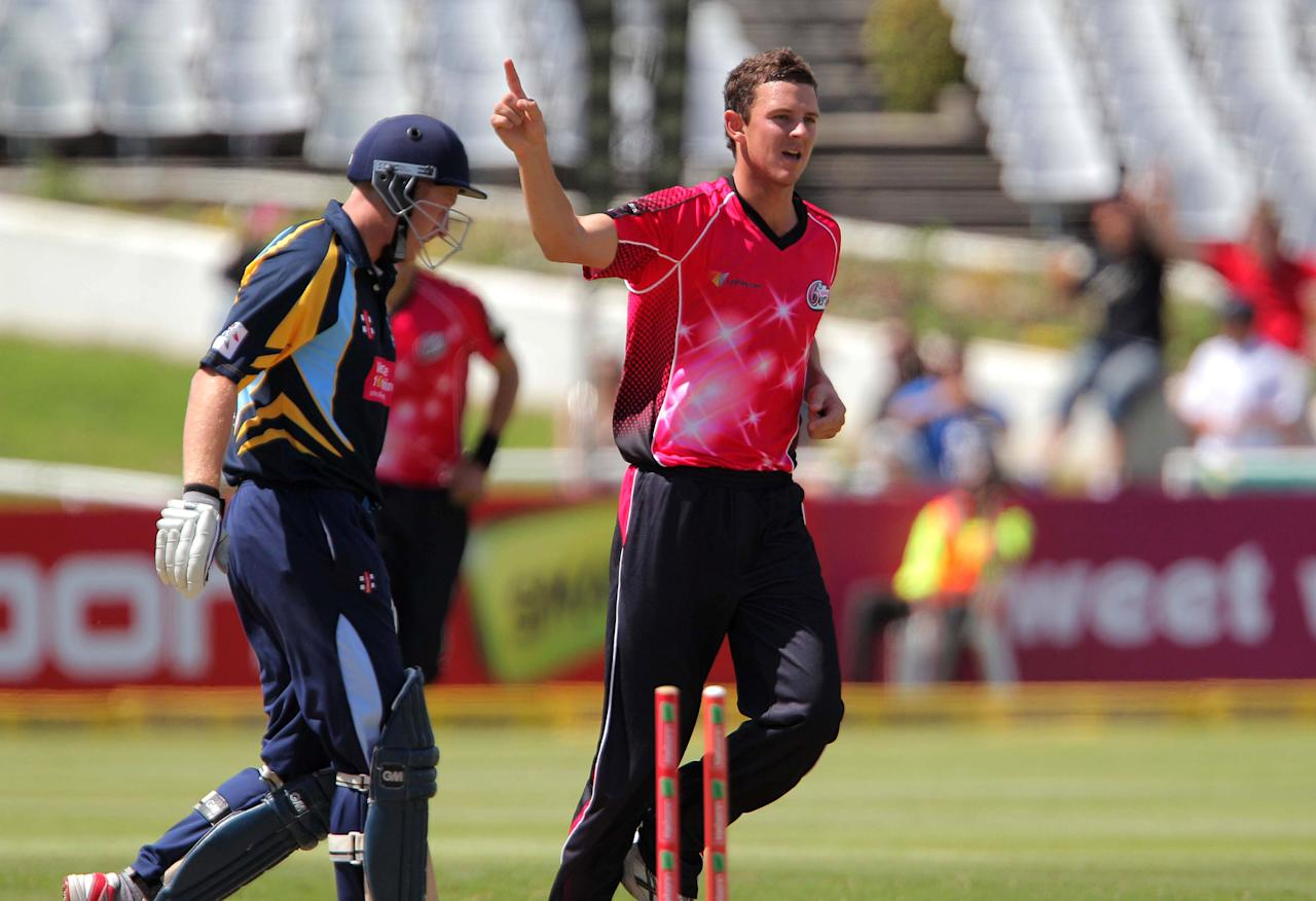CAPE TOWN, SOUTH AFRCA - OCTOBER 16:  Josh Hazlewood of the Sydney Sixers celebrates bowling Yorkshire Carnegie captain Andrew Gale during the Champions League twenty20 match between Sydney Sixers (Australia) and Yorkshire (England) at Sahara Park Newlands on October 16, 2012 in Cape Town, South Africa. (Photo by Carl Fourie / Gallo Images/Getty Images)