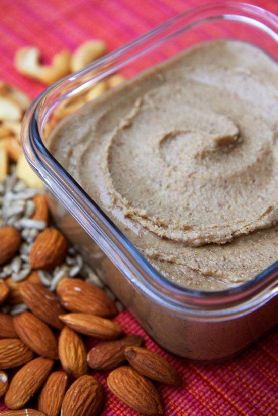 """<p>This homemade nut butter contains no peanuts at all. It's made with almonds, cashews, and sunflower seeds, creating a taste so fresh and unique, you'll never buy another jar from the store again. Pair it with fresh fruit or crackers.</p> <p><strong>Get the recipe:</strong> <a href=""""https://www.popsugar.com/fitness/How-Make-Nut-Butter-Home-3111385"""" class=""""link rapid-noclick-resp"""" rel=""""nofollow noopener"""" target=""""_blank"""" data-ylk=""""slk:homemade mixed nut butter"""">homemade mixed nut butter</a></p>"""