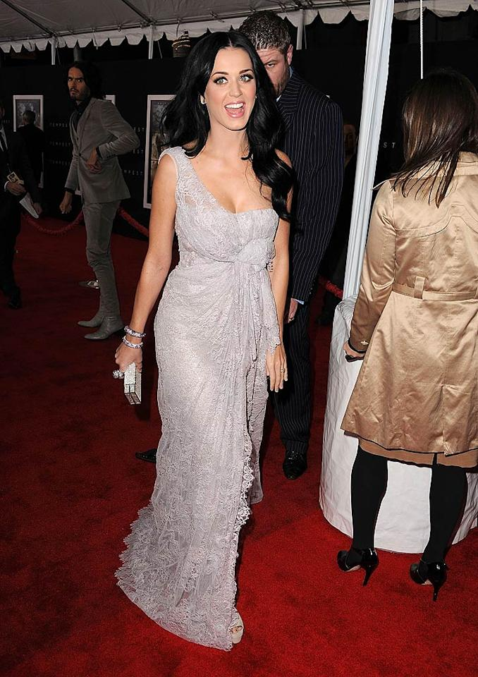 "Katy Perry appeared at another star-studded premiere that same night. The pop songstress strutted her stuff in an ethereal Elie Saab gown during the Los Angeles debut of ""The Tempest,"" which features her new hubby, Russell Brand. Steve Granitz/<a href=""http://www.wireimage.com"" target=""new"">WireImage.com</a> - December 6, 2010"