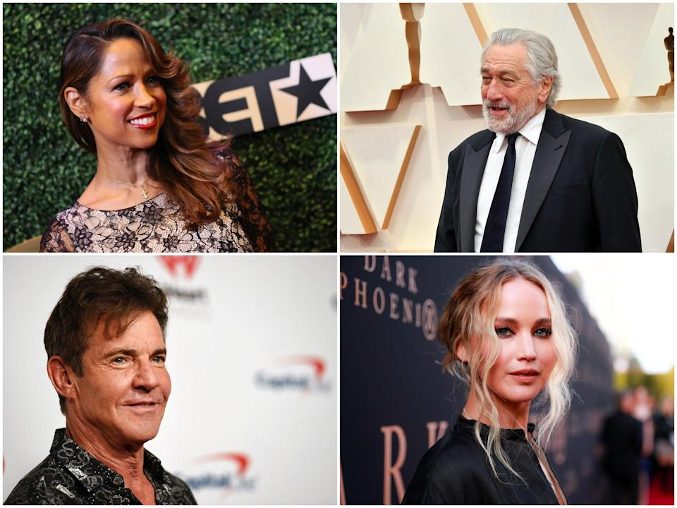 Clockwise from top left: Stacey Dash, Robert De Niro, Jennifer Lawrence, Dennis Quaid have all shown support for political candidates (Getty Images)