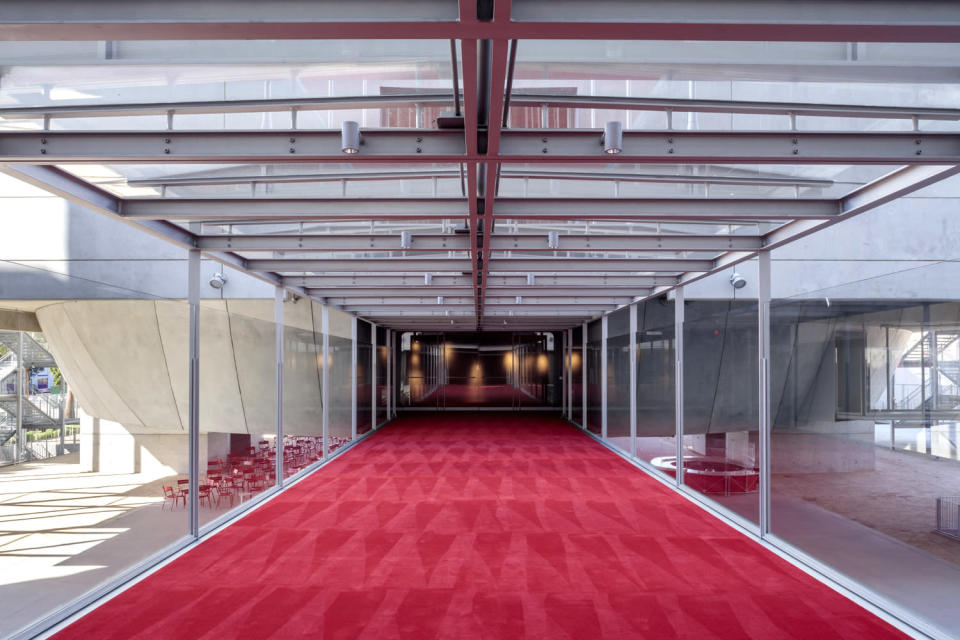 """<p>Inside, a red carpet (naturally) leads to some of the exciting exhibits. </p> <p>""""It matters for Los Angeles to have this film museum,"""" Tom Hanks told press at a preview prior to the venue's grand opening. """"We all know that films are made everywhere in the world, and they are wonderful films. And there are other cities with film museums, but with all due respect in a place like Los Angeles, created by the Motion Picture Academy, this museum has really got to be the Parthenon of such places.""""</p>"""