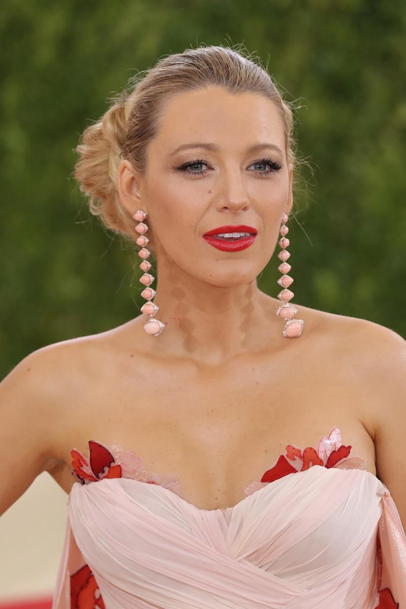At the 2016 Costume Institute Gala, Lively wore her hair in a voluminous up do with a bold, satin red lip.