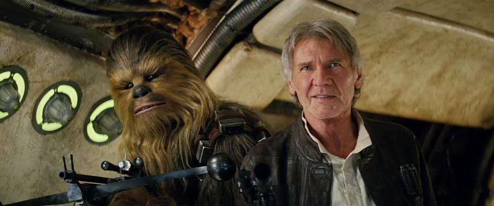 Harrison Ford as Han Solo, with Peter Mayhew's Chewbacca, in <em>The Force Awakens.</em> (Photo: Walt Disney/Lucasfilm Ltd c/o Everett Collection)