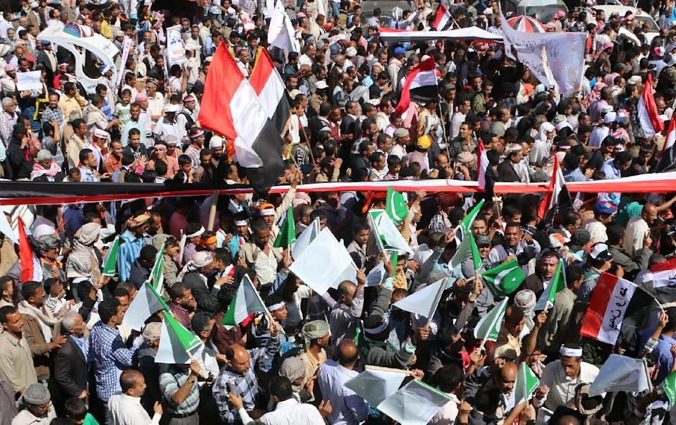 Yemeni protesters take part in rally against the Huthi Shiite movement in the southern city of Taez on February 11, 2015 after the group took control of parts of Yemen (AFP Photo/)