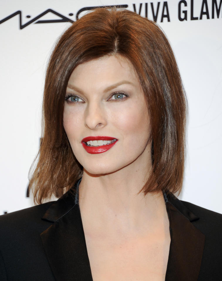 FILE - In this Feb. 8, 2012, file photo, model Linda Evangelista attends amfAR's New York gala benefit at Cipriani Wall Street in New York. Evangelista and ex-boyfriend Francois-Henri Pinault squared off Thursday, May 3, 2012, at a trial in Manhattan Family Court. She's demanding that he pay $46,000 a month in support for their 5-year-old son. Evangelista says she needs to pay for armed bodyguards and a round-the-clock nanny for the boy, Augustin. Evangelista and Pinault were a couple for a few months in late 2005 and early 2006. He is now married to actress Salma Hayek. They have a 4-year-old daughter. (AP Photo/Evan Agostini, file)