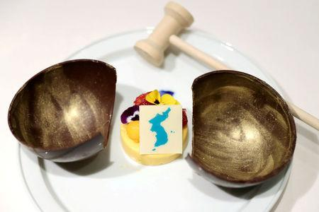 FILE PHOTO: A dessert which will be served at the inter-Korean summit banquet is seen in this handout provided by the Presidential Blue House