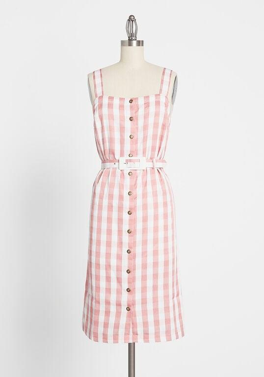 <p>Wear this <span>Past but Not Least Belted Dress</span> ($79) with a denim jacket.</p>