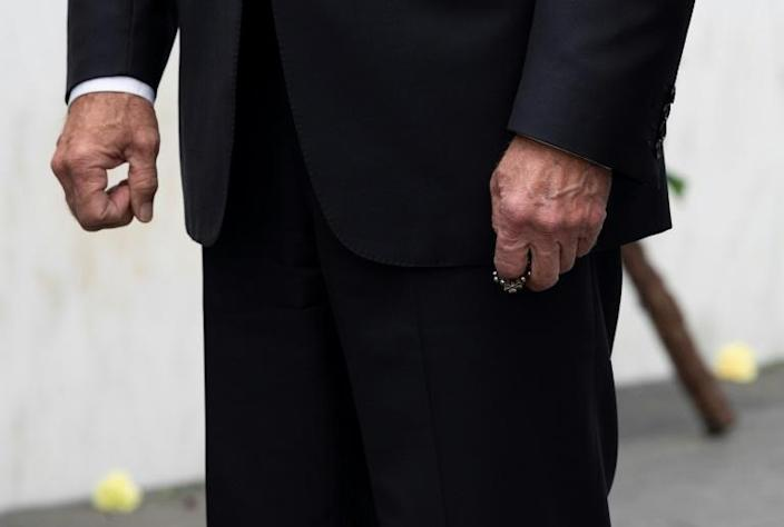 Joe Biden is seen with a rosary during a September 11, 2020 commemoration for victims of the 2001 terror attacks in Shanksville, Pennsylvania