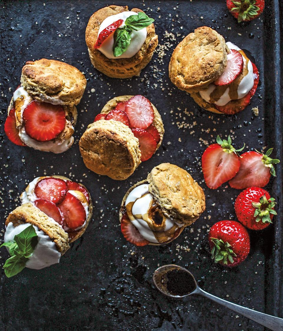"""Strawberry shortcake is a <a href=""""https://www.epicurious.com/recipes/food/views/strawberry-shortcake-with-buttermilk-biscuits-5246?mbid=synd_yahoo_rss"""" rel=""""nofollow noopener"""" target=""""_blank"""" data-ylk=""""slk:classic summer dessert"""" class=""""link rapid-noclick-resp"""">classic summer dessert</a>, but this version—from the <a href=""""https://www.chocolateforbasil.com/"""" rel=""""nofollow noopener"""" target=""""_blank"""" data-ylk=""""slk:endlessly creative baker/blogger Jerrelle Guy"""" class=""""link rapid-noclick-resp"""">endlessly creative baker/blogger Jerrelle Guy</a>—adds a couple of tasty twists: The rich, warm flavors of the biscuits, made with olive oil and whole wheat flour, go wonderfully with the zippy balsamic glaze and macerated strawberries. Whipped cream is, of course, de rigueur. <a href=""""https://www.epicurious.com/recipes/food/views/strawberry-balsamic-shortcakes-with-olive-oil-buttermilk-biscuits?mbid=synd_yahoo_rss"""" rel=""""nofollow noopener"""" target=""""_blank"""" data-ylk=""""slk:See recipe."""" class=""""link rapid-noclick-resp"""">See recipe.</a>"""